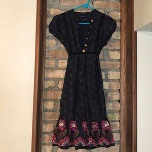 Boho floral cotton tie dress